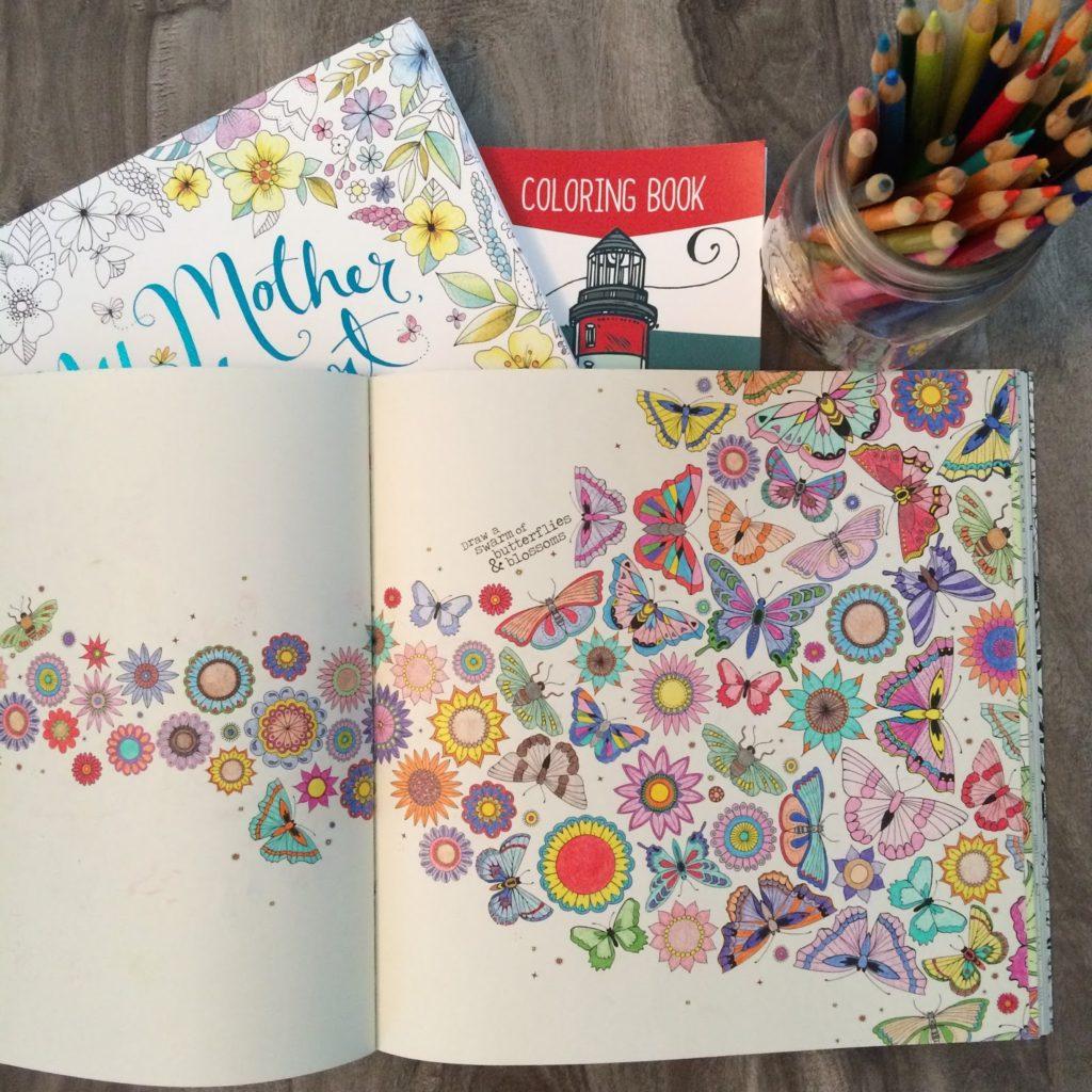 Cross Stitch & Colouring Books