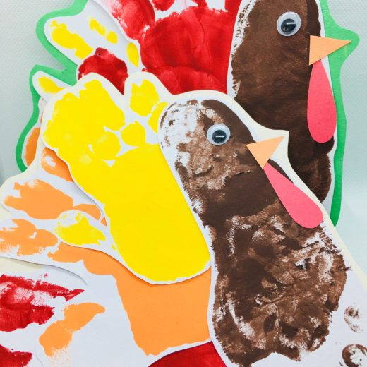Hand print turkey craft for toddlers
