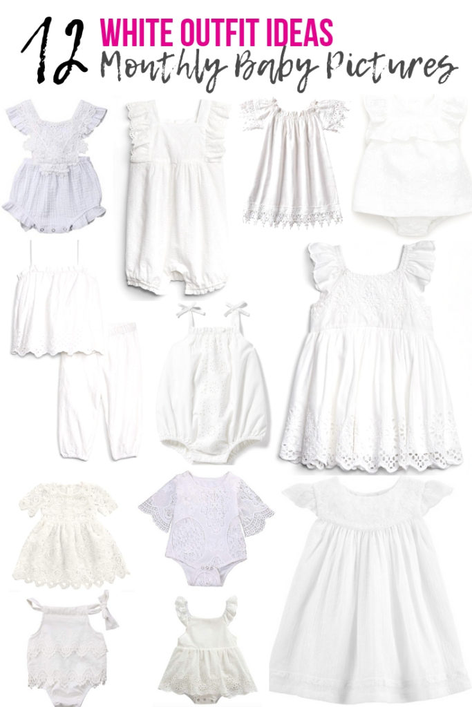 12 white outfit ideas for monthly baby pictures