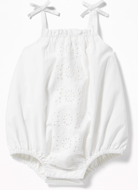 White romper for monthly baby pictures