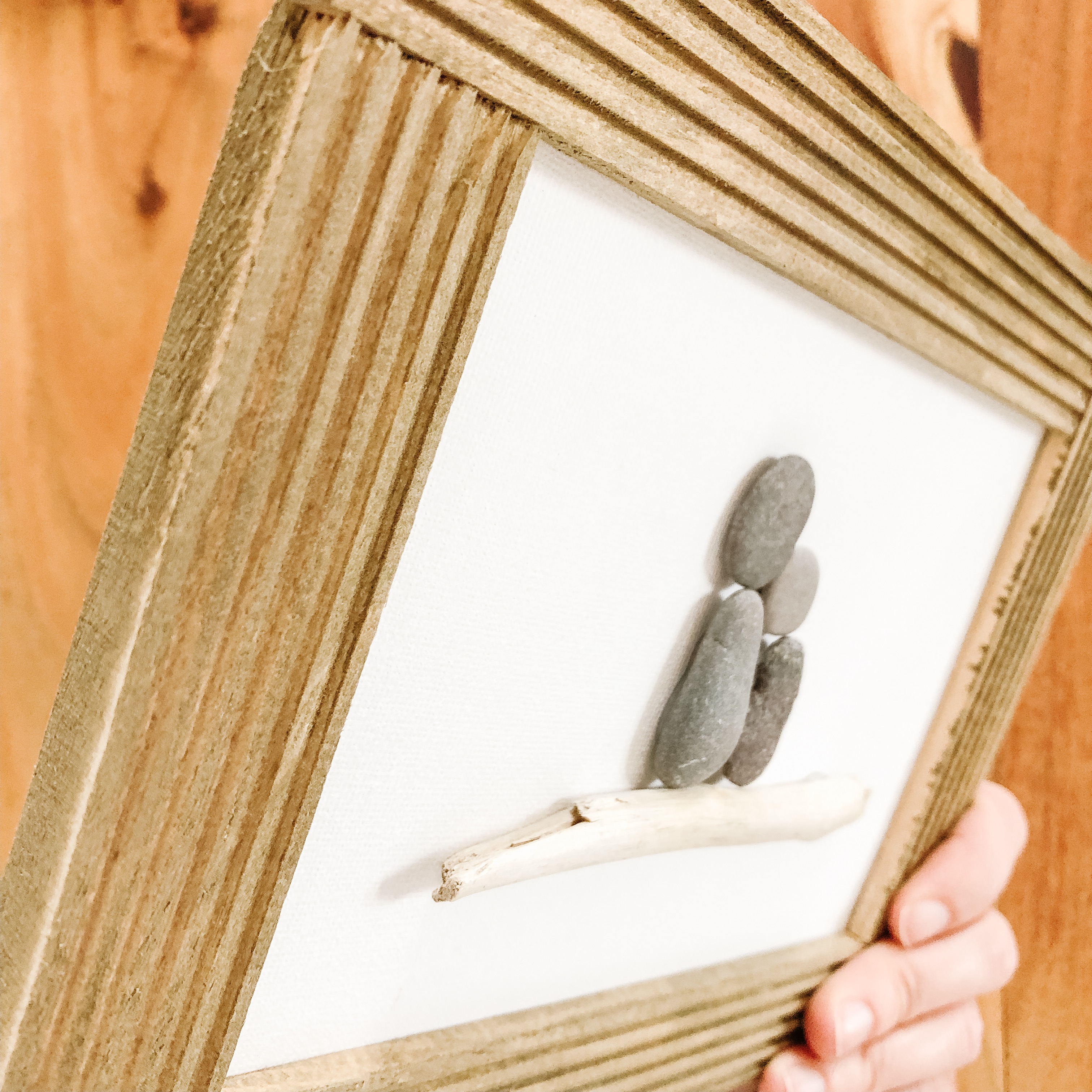 Rock Family Art displayed in frame