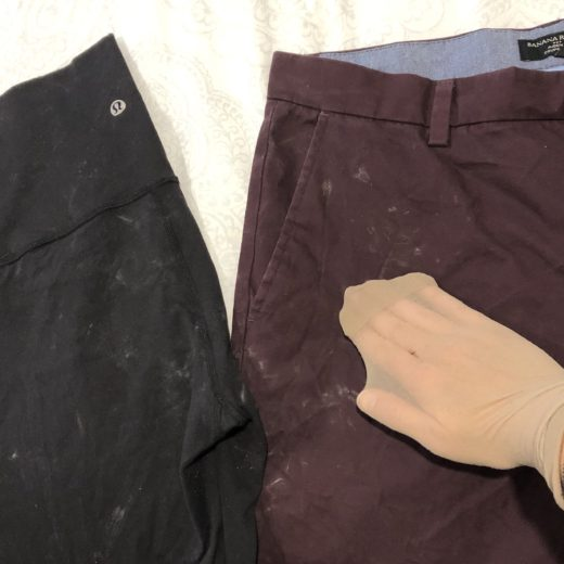 pants with soap residue. hand with nylon sock