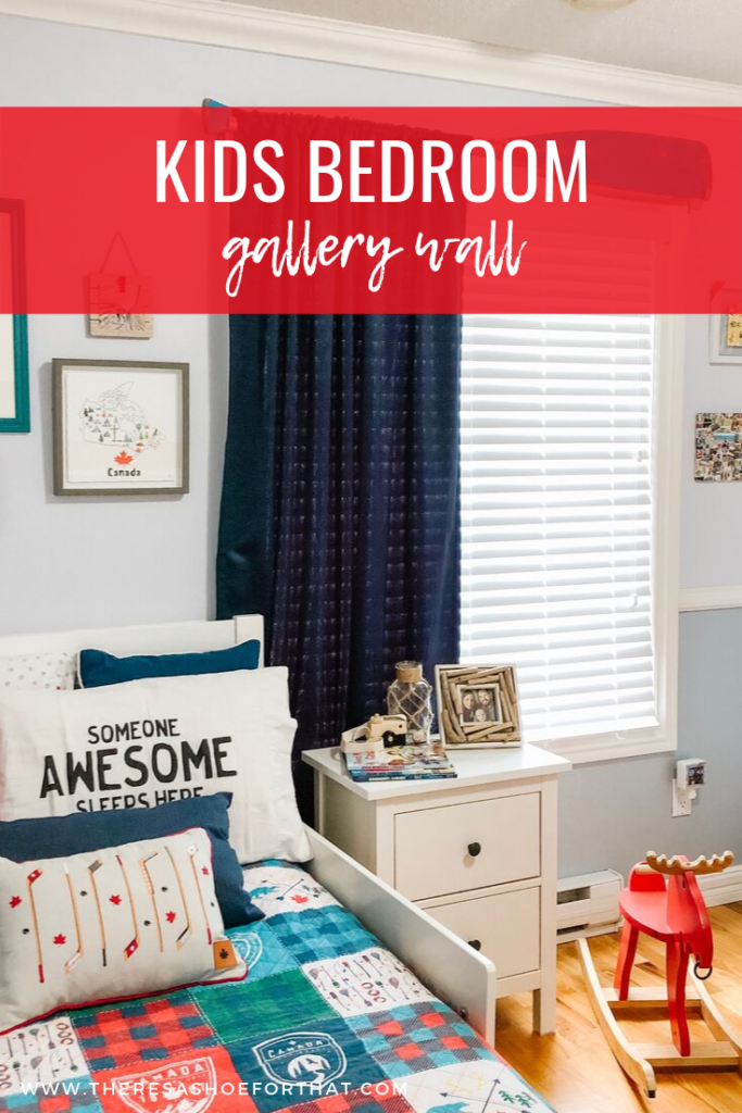 Canadian theme bedroom with gallery wall