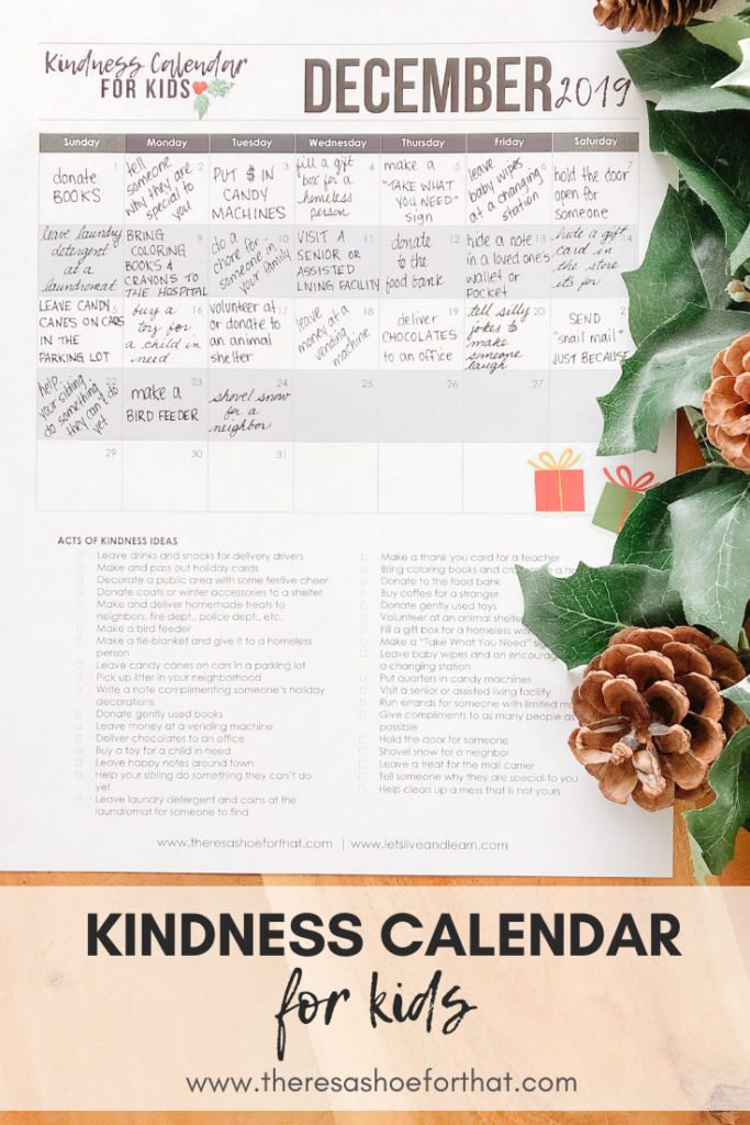 kindness calendar for kids